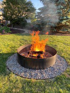 Fire Pit Liner, Rim Fire Pit, Paver Fire Pit, Large Fire Pit, Fire Pit Area, Fire Pit Backyard, Fire Pits, Metal Fire Pit Ring, Steel Fire Pit