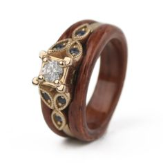Rosewood-Capped Engagement Ring by Simply Wood Rings // #woodengagementring