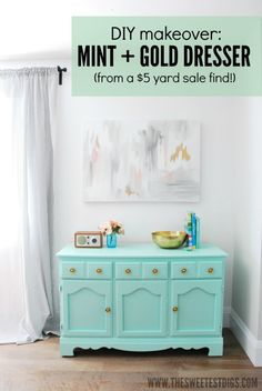 This $5 yard sale dresser was transformed with paint into a mint and gold beauty! Now a perfect buffet for the dining room! - via the sweetest digs
