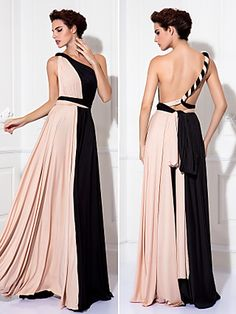 Sheath / Column Y Neck Floor Length Knit Color Block Cocktail Party / Prom / Formal Evening Dress with Sash / Ribbon / Pleats 2020 Evening Dresses Online, Cheap Evening Dresses, Infinity Dress Patterns, Convertible Dress, Formal Prom, Tie Dress, Dream Dress, Special Occasion Dresses, Pattern Fashion