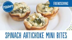 Not Just a Dip: Spinach-Artichoke Mini Bites! Pillsbury® pizza crust filled with a creamy, cheesy spinach and artichoke dip. Le Diner, Appetizer Recipes, Dip Appetizers, Snack Recipes, Tasty Snacks, Italian Appetizers, Holiday Appetizers, Health Snacks, Dip Recipes
