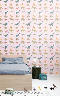 Revitalise your child's bedroom with this stylish Pink Dinosaur Pattern Wallpaper, a cool children's print that will impress. Dinosaur Wallpaper, Kids Wallpaper, Pattern Wallpaper, Dinosaur Pattern, Dinosaur Design, Color Rosa Claro, Dinosaur Bedroom, Estilo Interior, Cool Kids Bedrooms