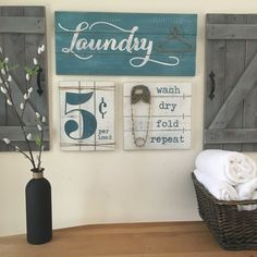 Laundry room signs set of 3 laundry room decor by woodstockrustic. Rustic Laundry Rooms, Laundry Decor, Laundry Room Signs, Diy Bathroom Decor, Woodworking Projects Plans, Fun Crafts, Wood Crafts, Panel, Wall Signs