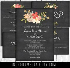 Rustic Wedding Invitation Suite - Vintage Floral, Chalkboard, casual wedding, Invitation, RSVP cards, insert, thank you cards, chalk. $65.00, via Etsy.