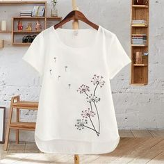 5438d43a484c 2017 Summer fashion loose Large size t shirt women white cotton embroidered  flowers half sleeve short sleeved baggy shirt · Cool ShirtsBaggy  ShirtsCasual ...