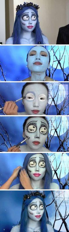 Corpse Bride Costume Tutorial - 12 Best DIY Halloween Makeup Tutorials - GleamItUp