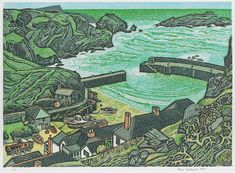 """Mullion Cove"" (Cornwall) by Rena Gardiner Art Connection, Silk Art, Landscape Paintings, Landscapes, Gcse Art, Naive Art, Wood Engraving, Travel Posters, Archaeology"