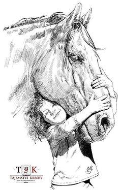 Dívka a kůň (Girl and horse) – Classic Cars Pencil Drawings Of Animals, Horse Drawings, Animal Sketches, Drawing Sketches, My Drawings, Horse Sketch, Pop Art Wallpaper, Globe Art, Horse Artwork