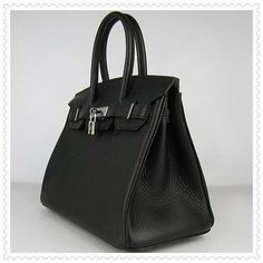Hermes Birkin 30CM Premium Leather Bag Black Silver
