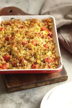 Low-cal Cherry Tomato and Yellow Squash Crumble. A savory crumble? Tomatoes are baked with summer squash under a blanket of crispy breadcrumbs for this satisfying Cherry Tomato and Yellow Squash Crumble. Get the recipe: Vegetarian Times, Vegetarian Recipes, Healthy Recipes, Vegetarian Cooking, Fun Recipes, Healthy Foods, Recipe Ideas, Veggie Dishes, Vegetable Recipes