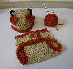 Newborn Baby Valentine's Love Bug Hat and Diaper Cover- Hand Crochet- Photo Prop #Handmade