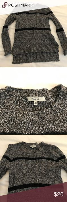 Madewell Grey and Black Sweater size XS Madewell grey and black sweater size XS. Slightly longer in the back. Worn several times, but still in good condition. Very comfy/cozy. Madewell Sweaters Crew & Scoop Necks