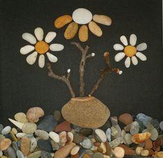 Pebble art beach stone flowers Rock wall art by madebynatureandme