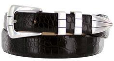 Vince Italian Calfskin Leather Designer Golf Dress Belt for Men (38, Alligator Black) ** See this great product.