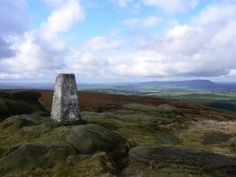 The trig point on Boulsworth Hill, the highest point in the South Pennines.