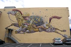 """""""Riding Dreams"""" by Pixel Pancho (Italy) located at 365 Princes Street Pixel Pancho, Creative People, Best Cities, Air, New Zealand, Graffiti, Moose Art, Murals, Artist"""