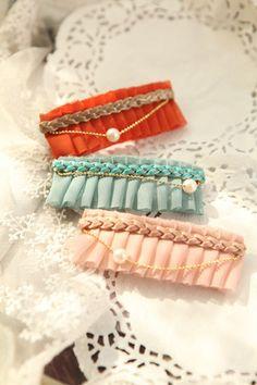 缎带&雪纺+皮绳三股+珍珠装饰
