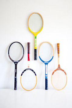 Vintage Tennis Rackets via BrightWallVintage on Etsy, 25.00