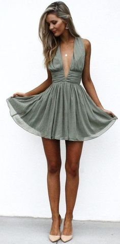 Olive Party Dress                                                                             Source