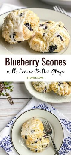 These simple to make Blueberry Scones with Lemon Butter Glaze are flaky and tender, sweet with blueberries, bright and fresh with lemon. Blueberry Scones with Lemon Butter Glaze | 31Daily.com #scones #blueberry #blueberryscones #afternoontea #tearecipes #31Daily Scone Recipes, Tea Recipes, Baking Recipes, Dessert Recipes, Breakfast Recipes, Desserts, Donuts, Muffins, Panes