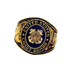 Rush Industries Official US Coast Guard tone Blue Crystal Deluxe Engraved Ring