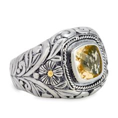 Citrine Sterling Silver Ring with 18K Gold Accents | Cirque Jewels