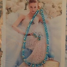AQUAMARINE  NECKLACE AND EARRINGS SET SI PRETTY CHIRSTYS Jewelry Necklaces