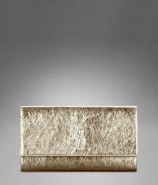 (YSL clutch in metallic gold}  . . . timeless appeal.