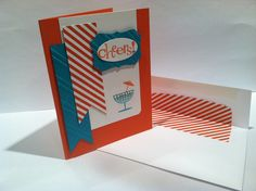 Stampin' up! Cheers to you. Celebrate card. Tangerine tango and Bermuda bay. Sale-a-brations DSP