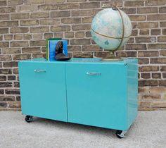 Vintage Metal Storage Cabinet Turquoise Aqua