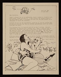 """This letter is typed around a drawing by Alex Katz of a woman and a man on a beach blanket, embracing. Handwritten notes identify the woman as """"Mrs. Bigelow"""" and the man as """"Edwin.""""      Full Citation: Ron Padgett letter to Fairfield Porter, 1970 June 22. Fairfield Porter papers, Archives of American Art, Smithsonian Institution."""