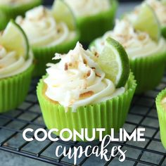 Cupcake recipes 632474341395711566 - These Coconut Lime Cupcakes are the perfect mix of tropical and citrus flavors, with a lime and coconut cupcake base, coconut cream cheese frosting, and toasted coconut on top! Köstliche Desserts, Delicious Desserts, Dessert Recipes, Yummy Food, Tasty, Coconut Lime Cupcakes, Tropical Cupcakes, Key Lime Cupcakes, Mini Cupcakes