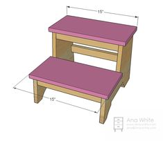 Vintage Step Stool - DIY Going to ask my dad if he can make this for us. (he has the heavy duty saws and stuff! Baby Diy Projects, Diy Wood Projects, Wood Crafts, Diy Stool, Step Stools, Foot Stools, Cool Woodworking Projects, Woodworking Plans, Woodworking Basics