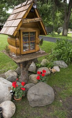 Dennis and Mickey Chick. Lakeville, MN. Our Little library is built to look like a Minnesota north woods cabin. It's been exciting to meet neighbors as they drop by to share the enjoyment of reading!
