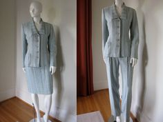 Vintage Bill Blass Designer 3 Piece Suit Skirt Pants and Jacket Blazer Blue and Beige Stripe