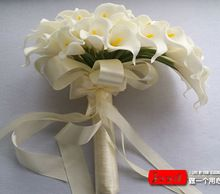 3 Color Beautiful 40pcs Artificial Flowers White Calla Lily Long Flower Bouquet Wedding Bouquet bridal bouquets FW128(China (Mainland))