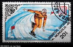 Mongolia Stamp 1984 - Canadian Gaetan Boucher Winter Olympics XIV in Sarajevo '84