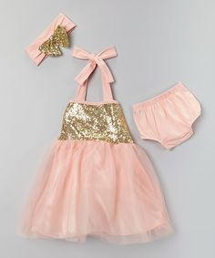 Coral Pink & Gold Sparkle Tutu Set - Infant, Toddler & Girls