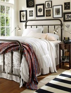 Iron bed frame for guest room Cozy Bedroom, Dream Bedroom, Bedroom Decor, Bedroom Ideas, Master Bedroom, Bedroom Inspiration, Bedroom Furniture, Bedroom Black, Apartment Furniture