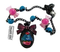 Pastel Goth Cupcake Necklace creepy cute cupcake by TocsinDesigns