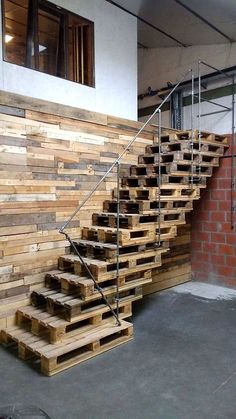 16 Best Staircase Wall Decor Ideas to Make Your Hallway Look Amazing - Stairways are one of the greatest spots in a home to hang the art. For many homeowners, the ability - Staircase Wall Decor, Staircase Design, Stairwell Decorating, Wooden Pallet Furniture, Wooden Pallets, Rustic Furniture, Modern Furniture, Furniture Ideas, Furniture Design
