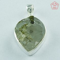 CRYSTAL WITH TURMULIN STONE ATTRACTIVE DESIGN 925 STERLING SILVER PENDANT P3586 #SilvexImagesIndiaPvtLtd #Pendant