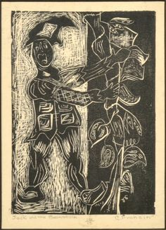 """Jack and the Beanstalk- Ink on Woodblock 8"""" x 14"""""""