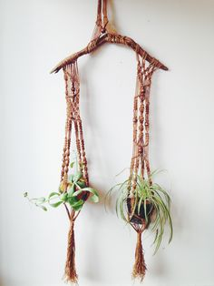 Vintage macramé and driftwood hanger