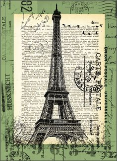 Eiffel Paris by Emanuel N. Decoupage Vintage, Vintage Diy, Vintage Labels, Vintage Postcards, Vintage Images, Vintage Pictures, Old Paris, Vintage Paris, Tour Eiffel