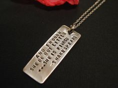 She Is Fierce, Shakespeare Necklace, Quote Jewelry, Jewelry with Message, Personalized Necklace, Personalized Jewelry. $45.00, via Etsy.