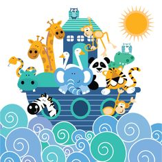 Noah's ark poster, (available in up to - bluetac to room dividers or attach to noticeboards. Sea Illustration, Cool Kids Rooms, Dibujos Cute, Baby Art, Kids Prints, Painting For Kids, Kids Cards, Print Pictures, Cute Designs