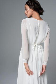 Long Sleeve Wedding Dress Boho, Long Sleeve Chiffon Dress, Wedding Dress Chiffon, Rustic Wedding Dresses, Gown Wedding, Bridal Gown, Lace Wedding, Modele Hijab, Dress With Bow