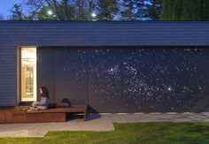 Architect Janna Levitt devised a creative emellishment for a residence in Canada. Photo by: Philip Cheung Tagged: Outdoor. Home Tours by Dwell from Starry Night: Outdoor Wall Light Installation. Browse inspirational photos of modern outdoor spaces. Outdoor Wall Lighting, Landscape Lighting, Outdoor Walls, Outdoor Spaces, Outdoor Retreat, Lighting Ideas, Indoor Outdoor, Outdoor Furniture, My Home Design