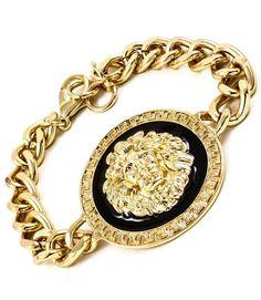 GOLD Chunky Lion Head Bracelet Jewelry Rihanna hot trend Nicki KJL Versace H